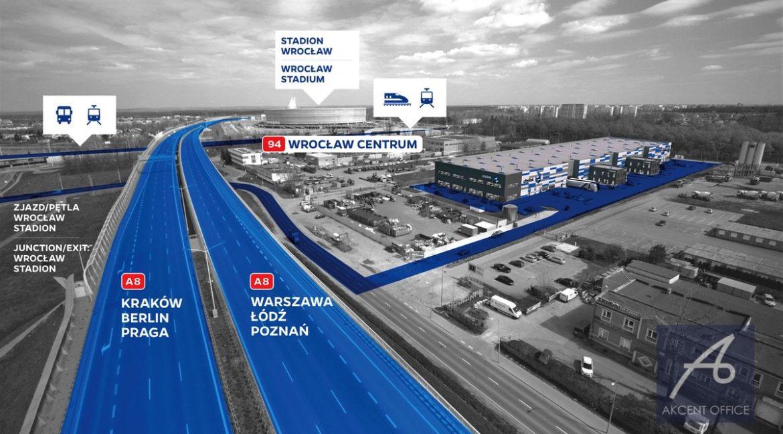 Citylink-Wroclaw-wizualizacja-widok-z-lotu-ptaka-z-autostrady-A8-przystanki-tramwajowe-autobusowe-kolejowe-stadion